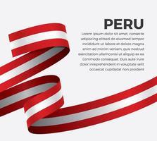 cinta de bandera de onda abstracta de perú vector