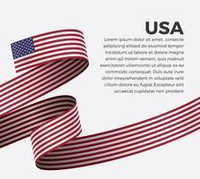USA abstract wave flag ribbon vector