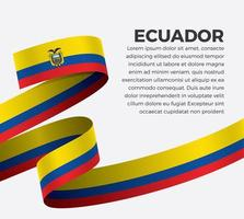 cinta de bandera de onda abstracta de ecuador vector