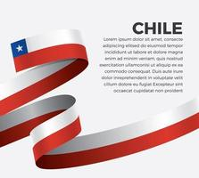 Chile  abstract wave flag ribbon