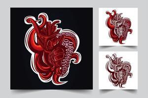 Ilustración de ilustraciones de tentáculo vector