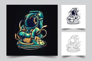 dance astronaut artwork illustration vector