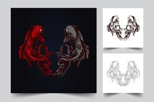 Ilustración de arte de ambigrama de pescado vector