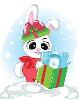 Baby shower cute bunny and gift box greeting card vector