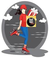 delivery woman holding shopping bag with gift box. black friday sale promo. vector