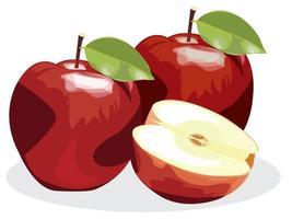 Manzana roja madura con mitad de manzana y hoja de manzana verde aislada sobre fondo blanco.