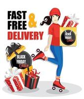 Delivery woman, delivering a package with black friday sale gift. fast and free delivery. vector