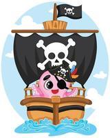 Pirata de personaje de pulpo rosa de dibujos animados lindo con un parche en el ojo en barco pirata, ilustración de vector de animal de arrecife de coral de océano divertido