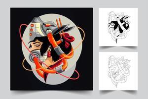 geisha artwork illustration vector