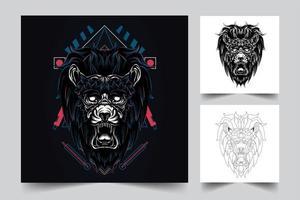 king lion artwork illustration vector