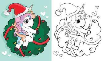 Paginas Para Colorear De Unicornios Navidad unicornio dibujado a mano de dibujos animados. ilustración vectorial. diseño de libro para colorear, tarjetas de felicitación, camiseta y otros vector