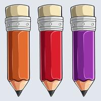 crayones - juego de lápices de tres colores vector