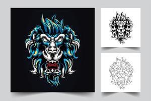 ilustración de arte de león enojado vector