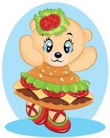Bears wearing a dress from a hamburger vector