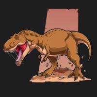 brown angry tyrannosaurus t rex vector