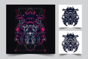 ilustración de arte de japón de cultura samurai vector