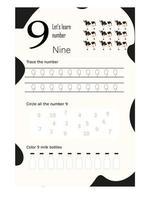 worksheet number nine vector