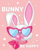 White rabbit with love eyeglasses. Baby White bunny on pink background