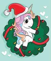 lindo unicornio vector personaje de navidad