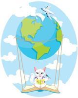 Cute little kitty flying with air balloon vector