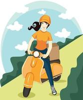 Vector cartoon girl riding scooter. Delivery Package service poster background template with female character on motorcycle delivering packages box with smile. Transportation company promo design