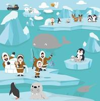 Cute arctic animals  cartoon set background vector