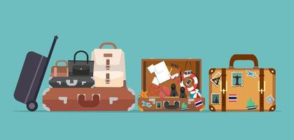 suitcases and bags set Travel concept vector