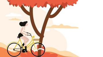 woman riding a bicycle with tree background vector