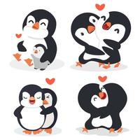 Cartoon penguin Couple hug with heart vector