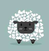 Cute Black Sheep with heart shapes vector