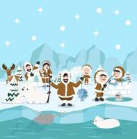 Inuit family winter north pole arctic concept vector