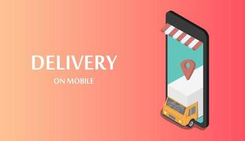 Fast delivery cargo truck on mobile banner vector