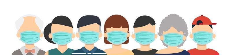Group of head people  wearing medical masks concept vector