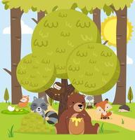 Cute woodland forest animals cartoon character background vector