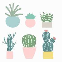 lindo cactus conjunto ilustración vectorial