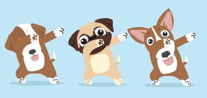 Cute dogs dab dancing set vector