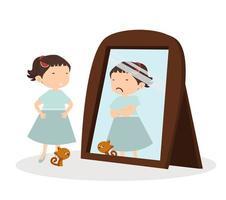 linda chica feliz mirando y gato parado frente al espejo
