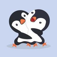 lindo, feliz, pingüinos, pareja, abrazar vector