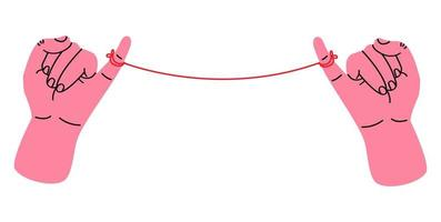 Little pinky promise with red thread vector