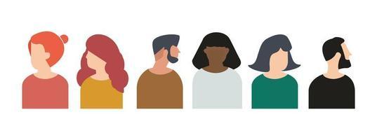 conjunto de cabezas de personas para avatares. vector