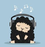 Cute sheep listening to music vector