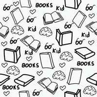 Hand drawn books doodles seamless pattern vector