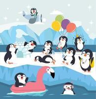 conjunto de lindo pingüino de dibujos animados haciendo actividades vector