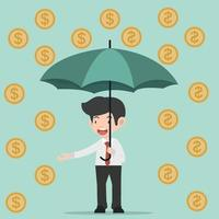 businessman holding umbrella with coins vector