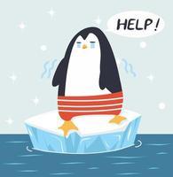 pingüino triste en vector de témpano de hielo