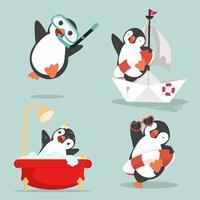 Set of funny penguins cartoon arctic vector