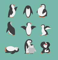 Cute penguin characters in different poses set vector