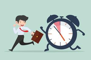 businessman Running with big ringing timer clock