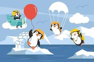 pingüinos en el cielo ártico vector