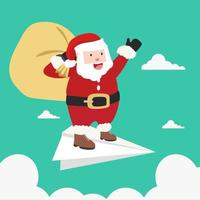 santa claus en avion de papel vector
